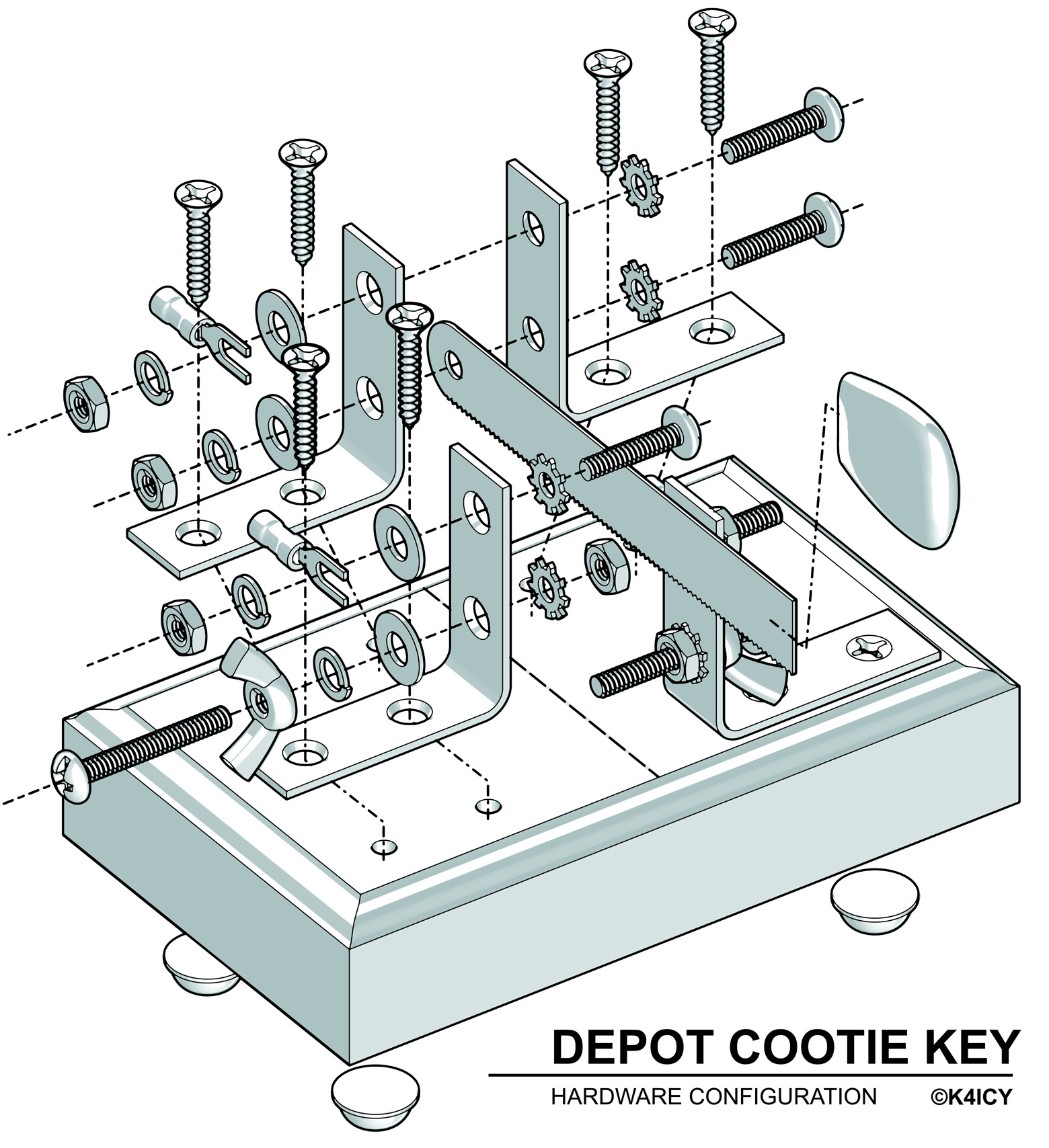 Depot Cootie SingleLever Paddle KICY Weekend Radio - Wiring diagram telegraph key
