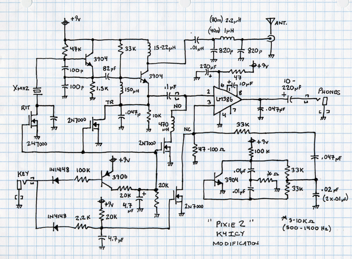 K4icys Home Brew Cw Audio Filter Transistor Analogue Oscillator Circuits First Rough Schematic Pixie 2 With Mods